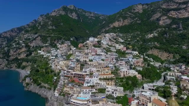 positano, italy aerial video - procida video stock e b–roll
