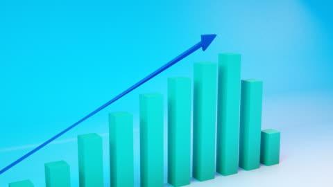 vídeos de stock e filmes b-roll de positive trend chart - crescimento