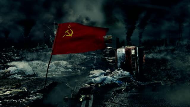 ポスト耐えシーン-ソビエト旗 - 全壊点の映像素材/bロール