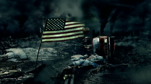 Post apocalyptic scene - USA flag