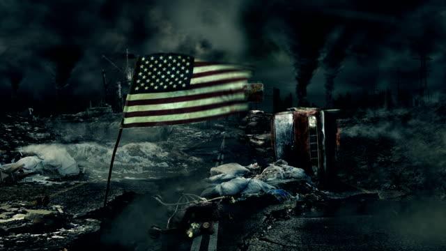 post apocalyptic пейзаж-флаг сша - уничтоженный стоковые видео и кадры b-roll
