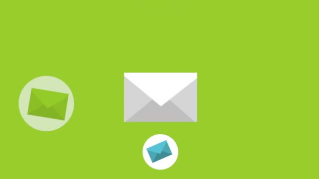 skicka e-post servicedesign, video animation - skicka datormeddelande bildbanksvideor och videomaterial från bakom kulisserna