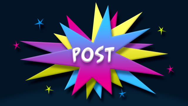 Post text in speech balloon with colorful stars