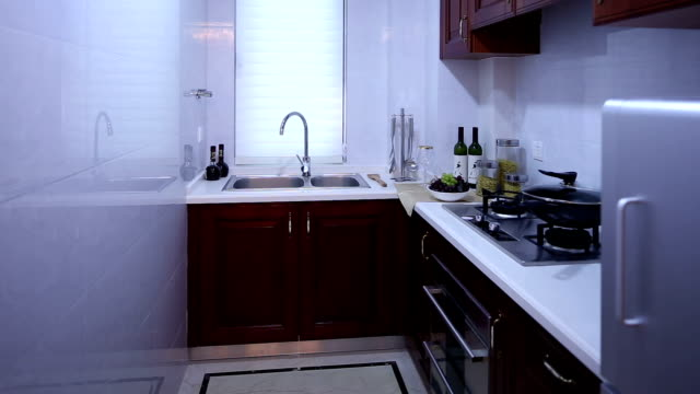 postmodern kitchen interior and furnitures, real time. - post modern architecture stock videos & royalty-free footage