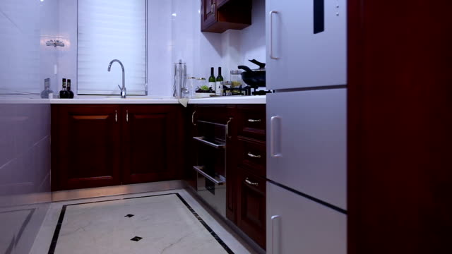 postmodern kitchen interior and furnitures, real time. video