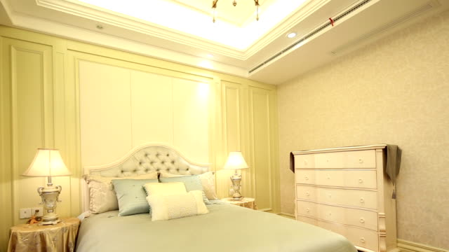 postmodern luxury bedroom and decoration, real time. - post modern architecture stock videos & royalty-free footage