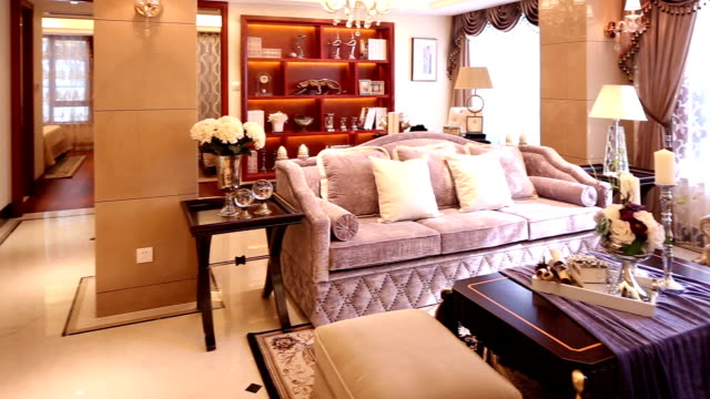 Postmodern luxury living room and decoration, Real time. Postmodern luxury living room and decoration, Real time. post modern architecture stock videos & royalty-free footage