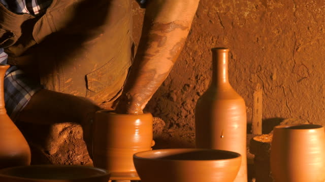 Pot Made of Clay Pot Made of Clay Workshop flower pot stock videos & royalty-free footage