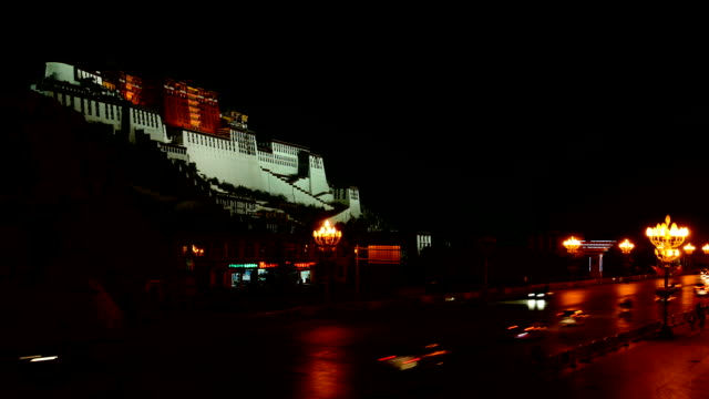 Potala palace at night The potala palace at night. floodlit stock videos & royalty-free footage