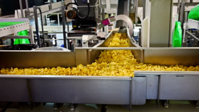 Potato crisp factory A vibration conveyor at a factory manufacturing potato crisps.,,,,,, prepared potato stock videos & royalty-free footage