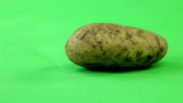 potatoes turning on green screen video