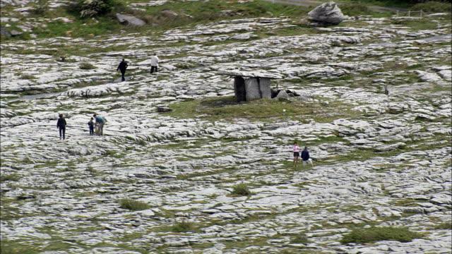 Poulnabrone Dolmen  - Aerial View - Munster, Co Clare, Ireland video