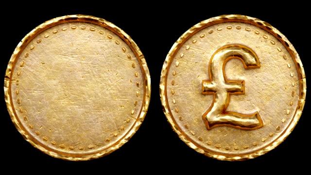 pound and empty coins - simbolo della sterlina video stock e b–roll