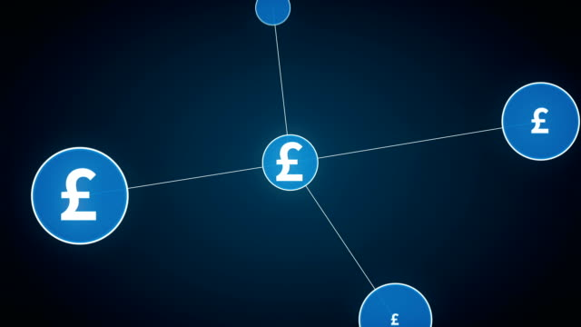 Pound currency symbol, Numerous dots gather to create a Pound currency sign, dots makes global world map, internet of things. financial technology.2. video