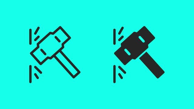 vídeos de stock, filmes e b-roll de ícones de martelo de libra - vector animar - clip art