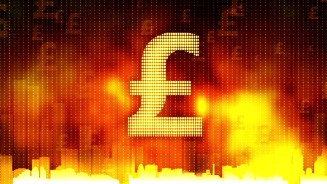 Pound sign pulsing on fiery background, money rules the world, greed, obsession video