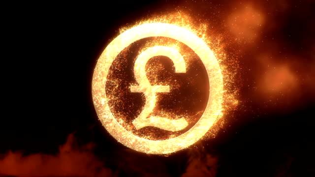 pound sing mit feuer mit alpha-kanal-effekt - pfand stock-videos und b-roll-filmmaterial