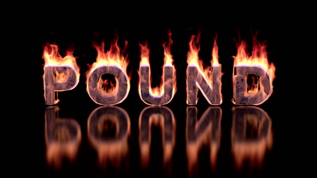 pound word burning in flames on the glossy surface, financial 3D illustration background video