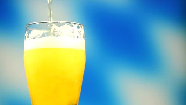 Pouring a glass of Bavarian beer video