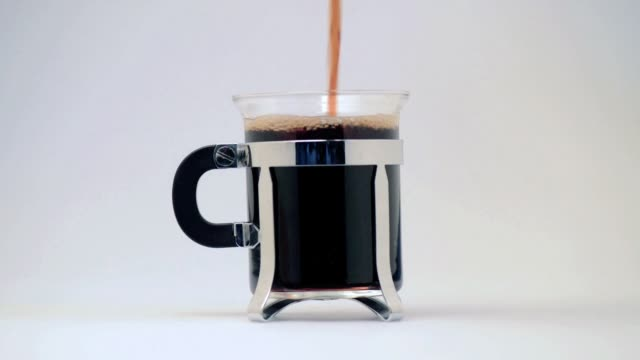 Pouring coffee again and again in a glass mug video