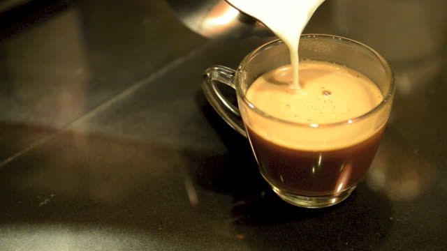 pouring fresh milk into the coffee mocha video