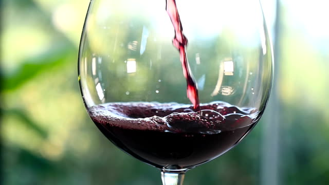 Pouring red wine in wineglass video