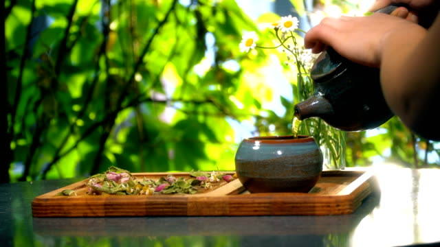 Pouring Tea From Teapot Outdoors