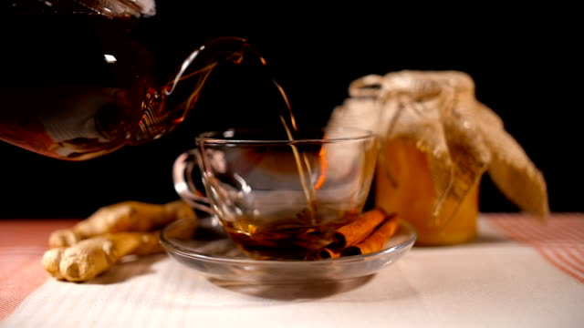 Pouring Tea with Honey, Ginger and Cinnamon video