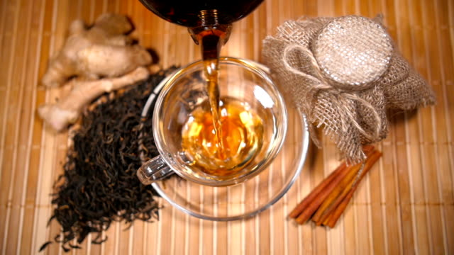 Pouring Tea with Scattered Tea, Honey, Ginger and Cinnamon video
