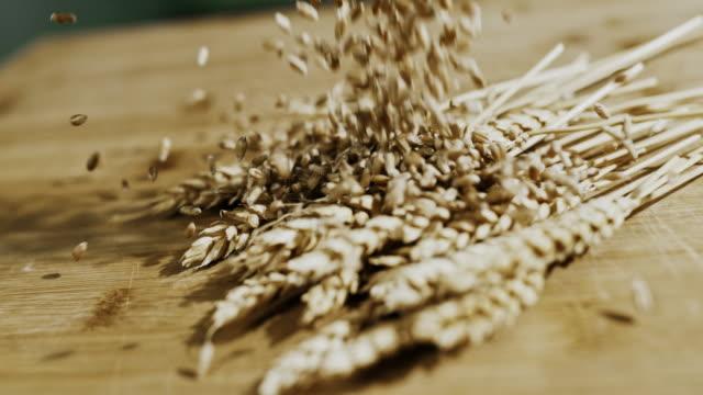 小麦の耳上の小麦粒の slo mo を注ぐ - テーブル 無人のビデオ点の映像素材/bロール