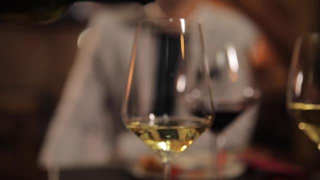 hälla vitt vin - vitt vin glas bildbanksvideor och videomaterial från bakom kulisserna