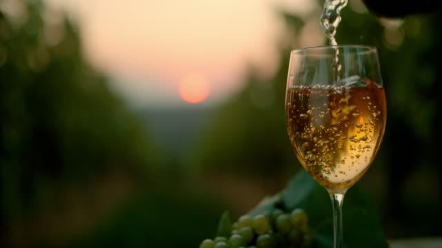 slo mo hälla vin i ett glas i skymningen - vitt vin glas bildbanksvideor och videomaterial från bakom kulisserna