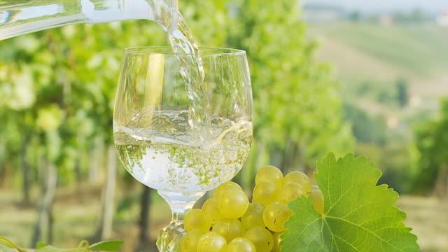 hd slow motion: pouring wine into glass in vineyard - vitt vin glas bildbanksvideor och videomaterial från bakom kulisserna