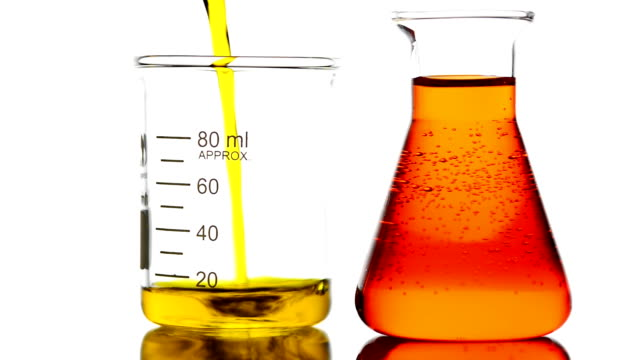 Pouring yellow liquid into Beaker Pouring yellow liquid into Beaker beaker stock videos & royalty-free footage