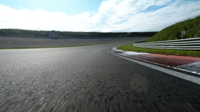 Pov shot of racing car on track