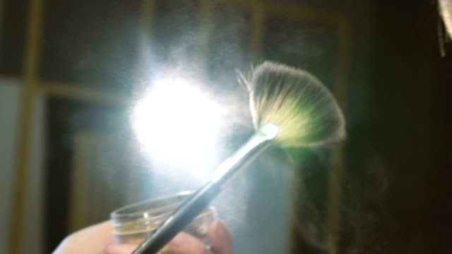Powder Explosion on Make Up Brush Full Hd, 29,97p, Slow Motion eyeliner stock videos & royalty-free footage