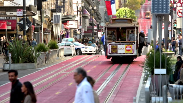Powell Street San Francisco Full HD color footage of crowds, cable cars and traffic in Powell Street of San Francisco, California. cable car stock videos & royalty-free footage