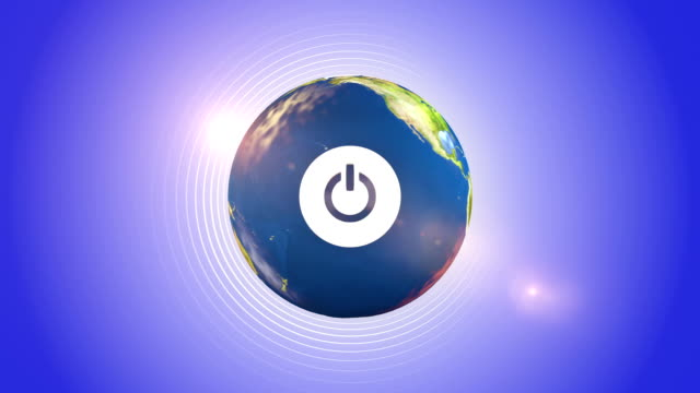 Power Button On The Orbiting Globe video