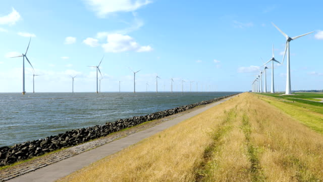 power generating wind turbines wind turbines in a row off the coast of the Netherlands cultivated land stock videos & royalty-free footage