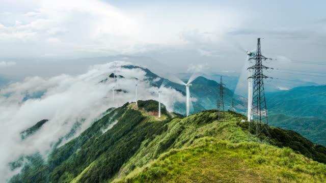 power generating windmills - energia rinnovabile video stock e b–roll