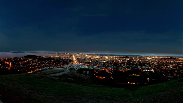 Power Grid - City Power Outage A panoramic time lapse over San Francisco with audio and special effects simulating a city-wide power outage. power supply stock videos & royalty-free footage