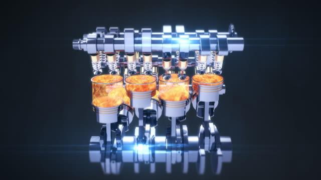 Power Hungry Rotating V8 Engine Producing Power. CG Animation