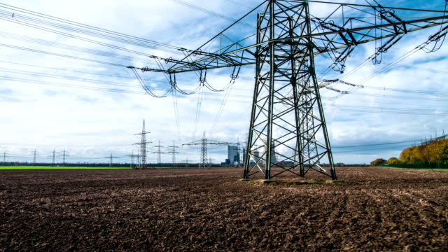 STEADY CAM : Power Line Steady cam shot of a high voltage electricity pylon power supply stock videos & royalty-free footage