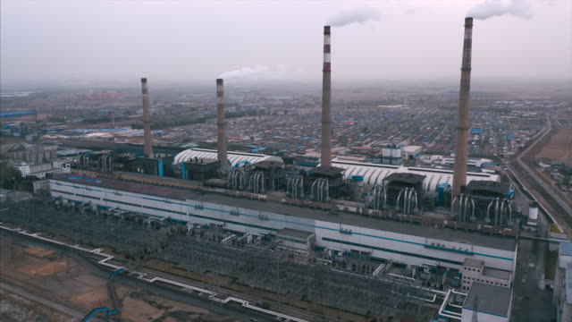 Power plant aerial view drone point of view, b-roll footage. coal stock videos & royalty-free footage