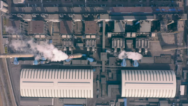 Power plant aerial view video