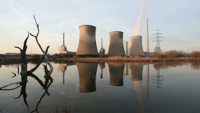Power plant with dead trees video