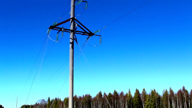 A power post with some cable wires on it video