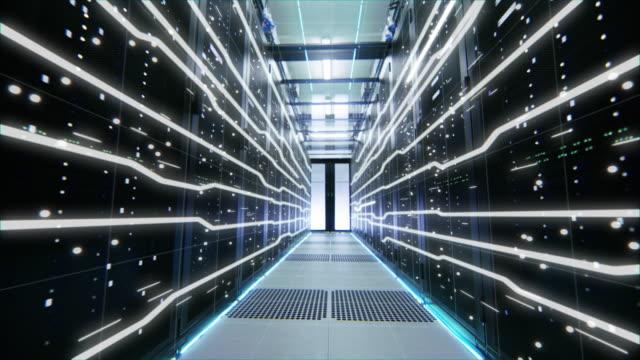 power körs genom data center server rack fyllning med gigabyte kuber av information. animerat koncept för visualisering och digitalisering av internettrafik. rörlig kamera skott - server room bildbanksvideor och videomaterial från bakom kulisserna