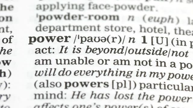 makt ord i engelsk ordbok, alternativa energi källor, delstats regeringen - stavning bildbanksvideor och videomaterial från bakom kulisserna