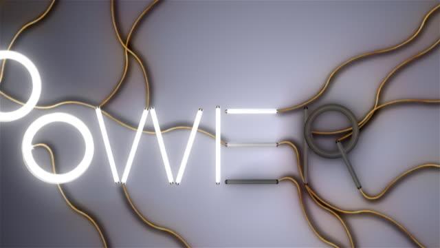 Power word made of fluorescent bulbs video